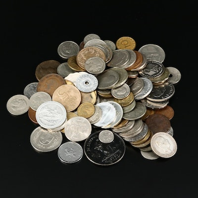 103 Assorted European Coins and Tokens, Late 19th to Mid 20th Century