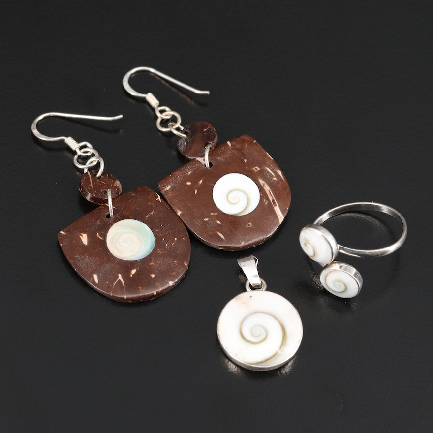 Sterling Silver Earrings, Pendant and Ring Featuring Shell and Nut