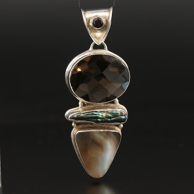 Sterling Pendant Including Pearl, Glass and Mother of Pearl