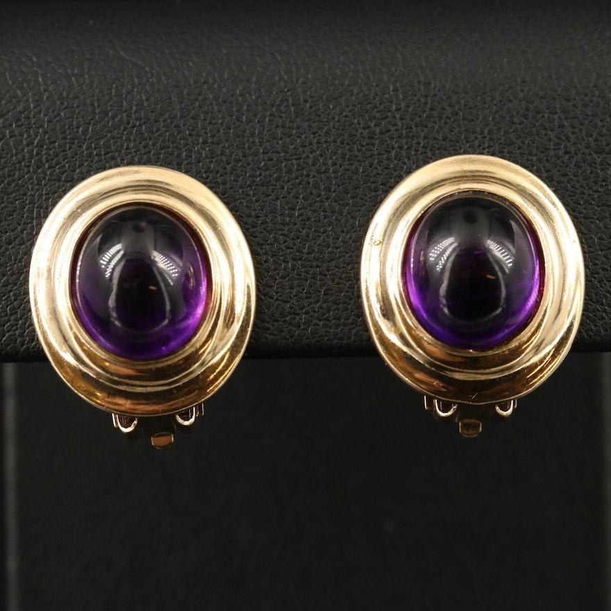 14K Amethyst Button Earrings