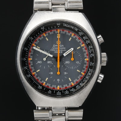 1969 Omega Speedmaster Mark II Racing Stainless Steel Stem Wind Wristwatch