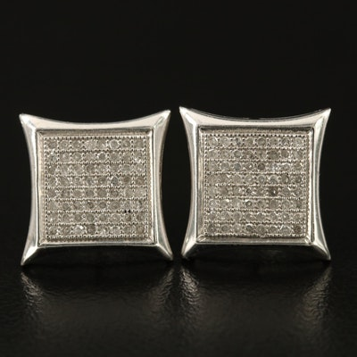 10K Diamond Square Earrings