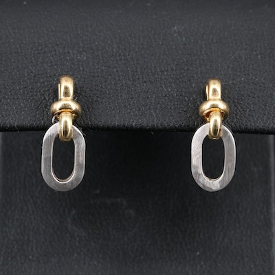 14K Two-Tone Dangle Earrings