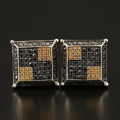 Sterling Silver Black Diamond Earrings