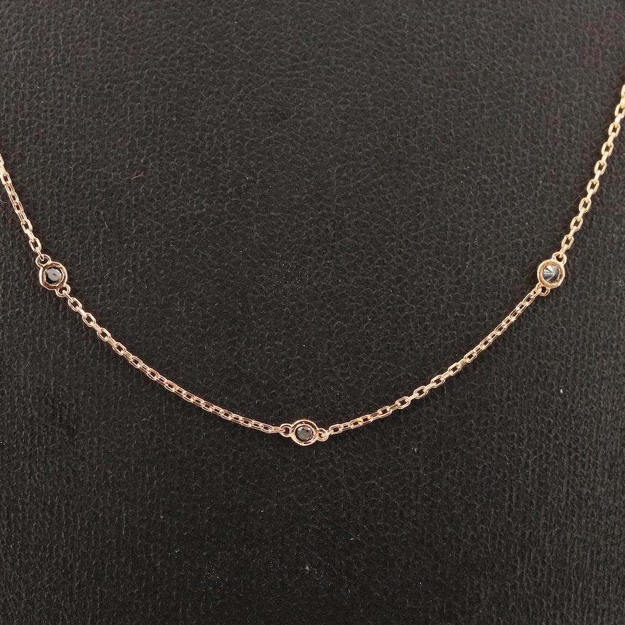 18K Rose Gold Black Diamond Station Necklace