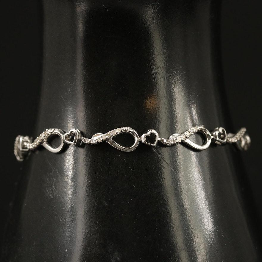 Sterling Diamond Fancy Link Bracelet