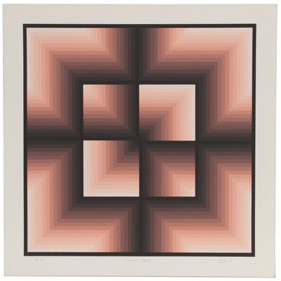 "Jurgen Peters Op Art Serigraph ""Window Motif,"" 1982"