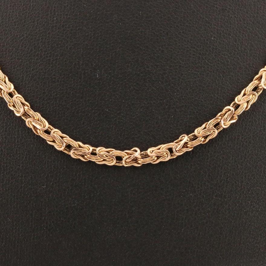 14K Byzantine Chain Necklace with 10K Clasp