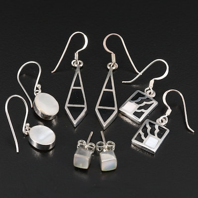 Sterling Silver Earrings Featuring Gemstone Inlay