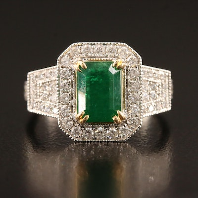 14K 1.65 CT Emerald and Diamond Halo Ring