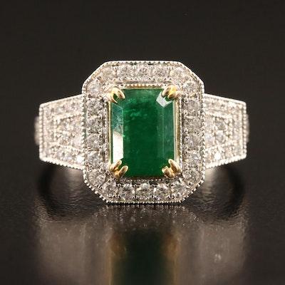14K 1.65 CT Emerald and Diamond Halo Ring