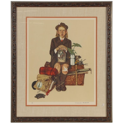 "Norman Rockwell Color Lithograph ""Back from Camp"""