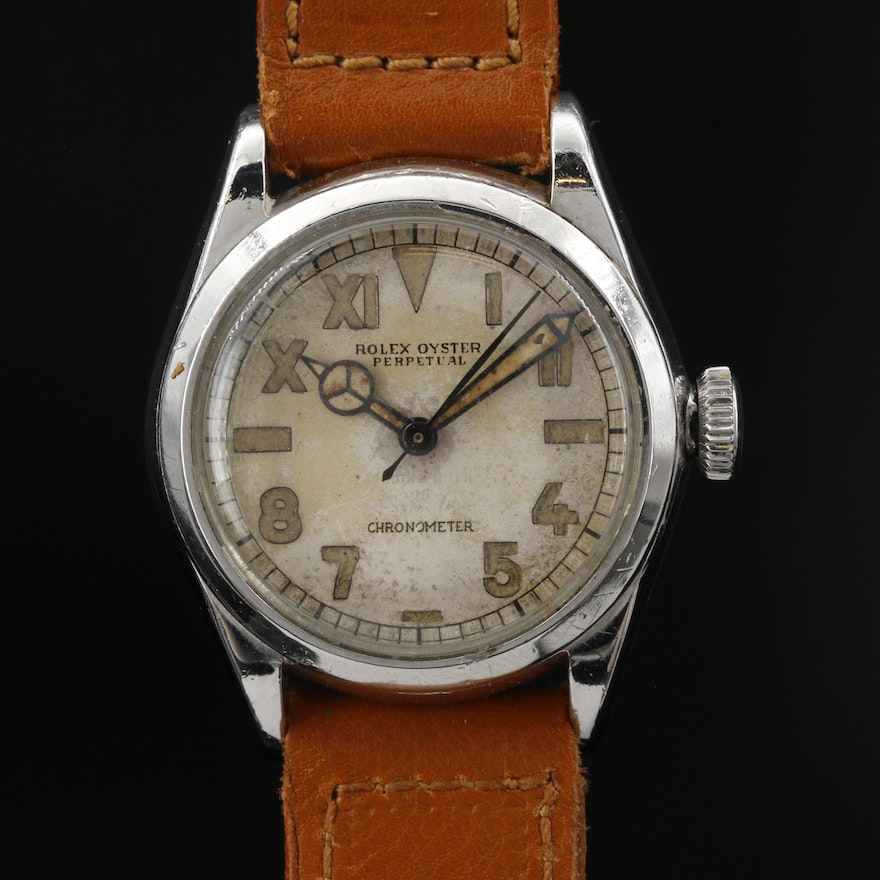 1942 Rolex Oyster Perpetual Stainless Steel Stem Wind California Dial Wristwatch
