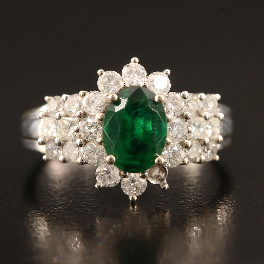 14K 1.01 CT Emerald and 1.00 CTW Diamond Ring