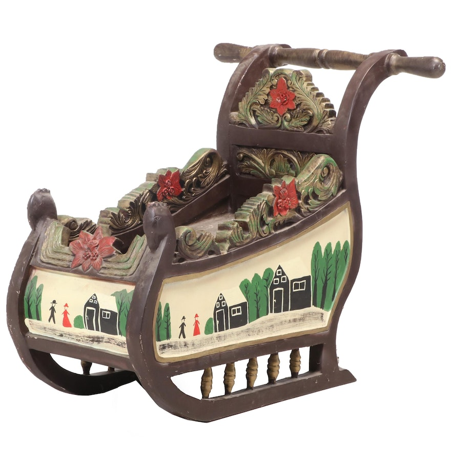 Decorative Black Forest Style Painted Sleigh, Early to Mid 20th Century