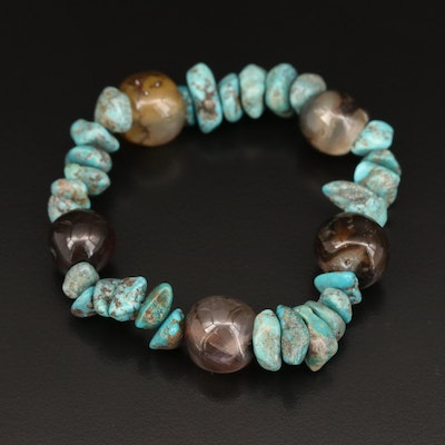 Turquoise and Agate Beaded Expandable Bracelet