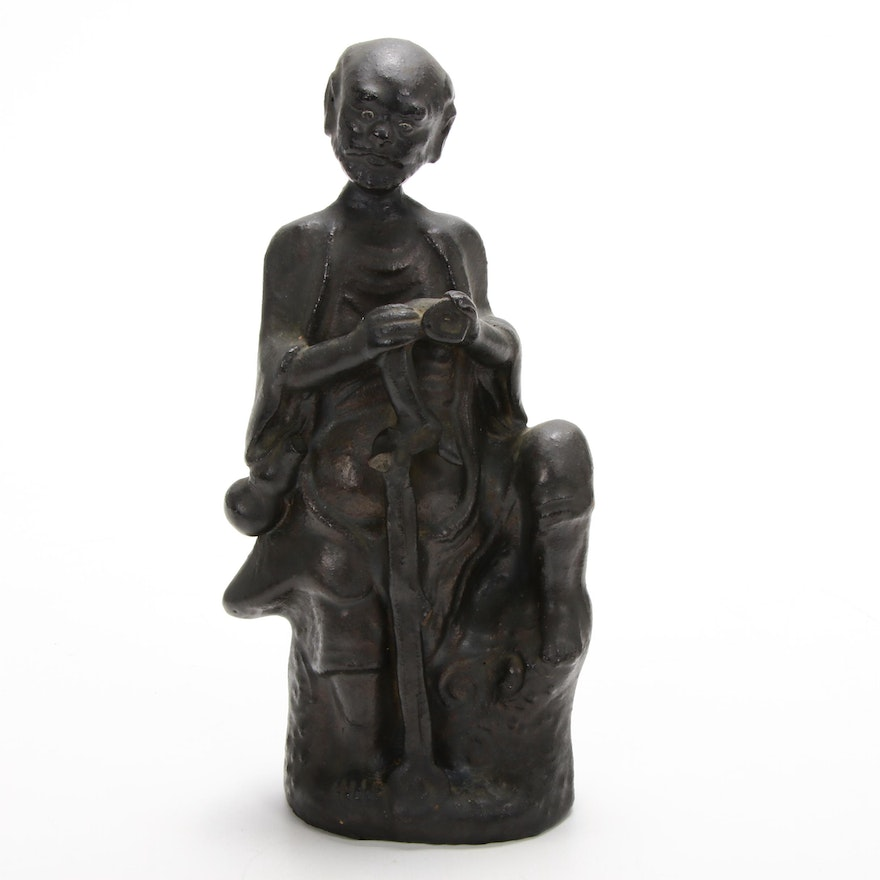 Japanese Style Metal Sculpture of Man with Staff