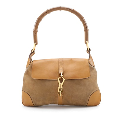 Gucci Jackie Bamboo Flap Bag in Suede and Leather