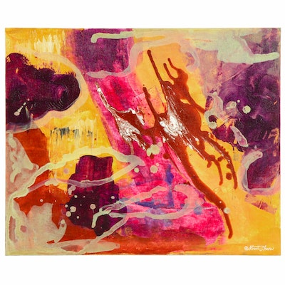 Kurt Shaw Acrylic Painting of Abstract Composition, 21st Century
