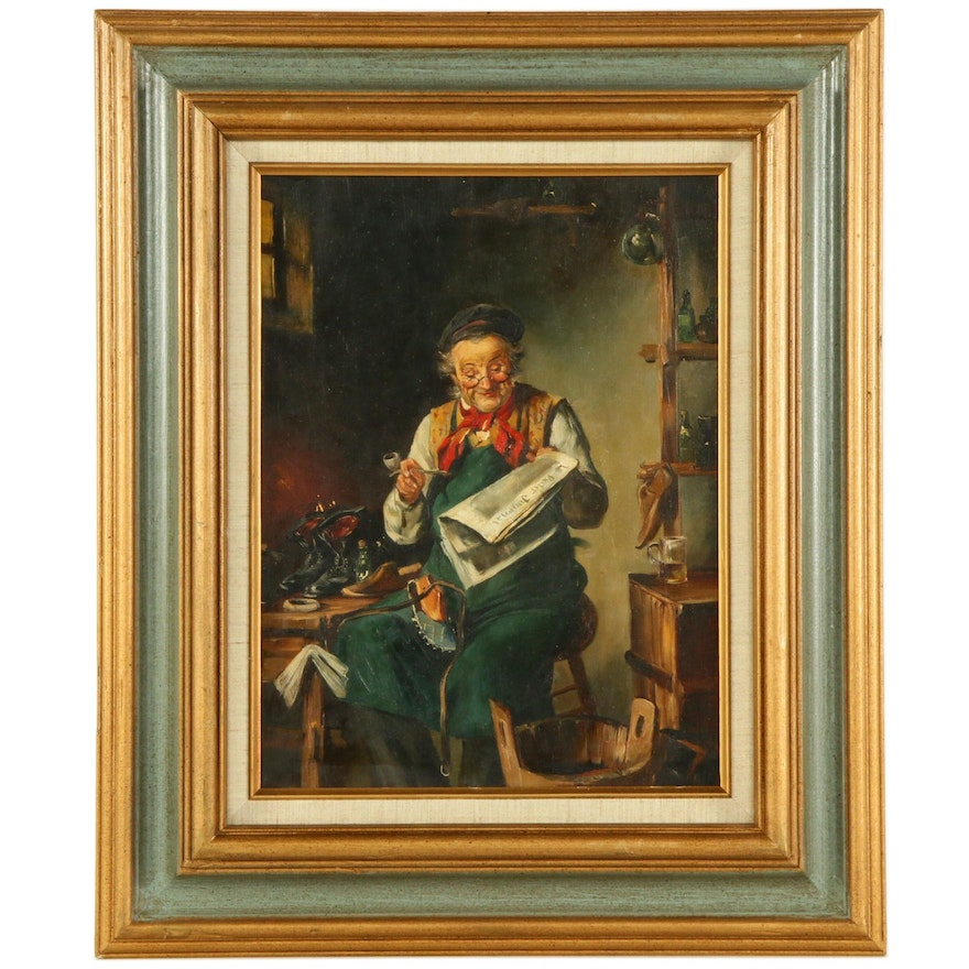 """R.W. Gruber Oil Painting Genre Scene """"The Cobbler"""", Early 20th Century"""