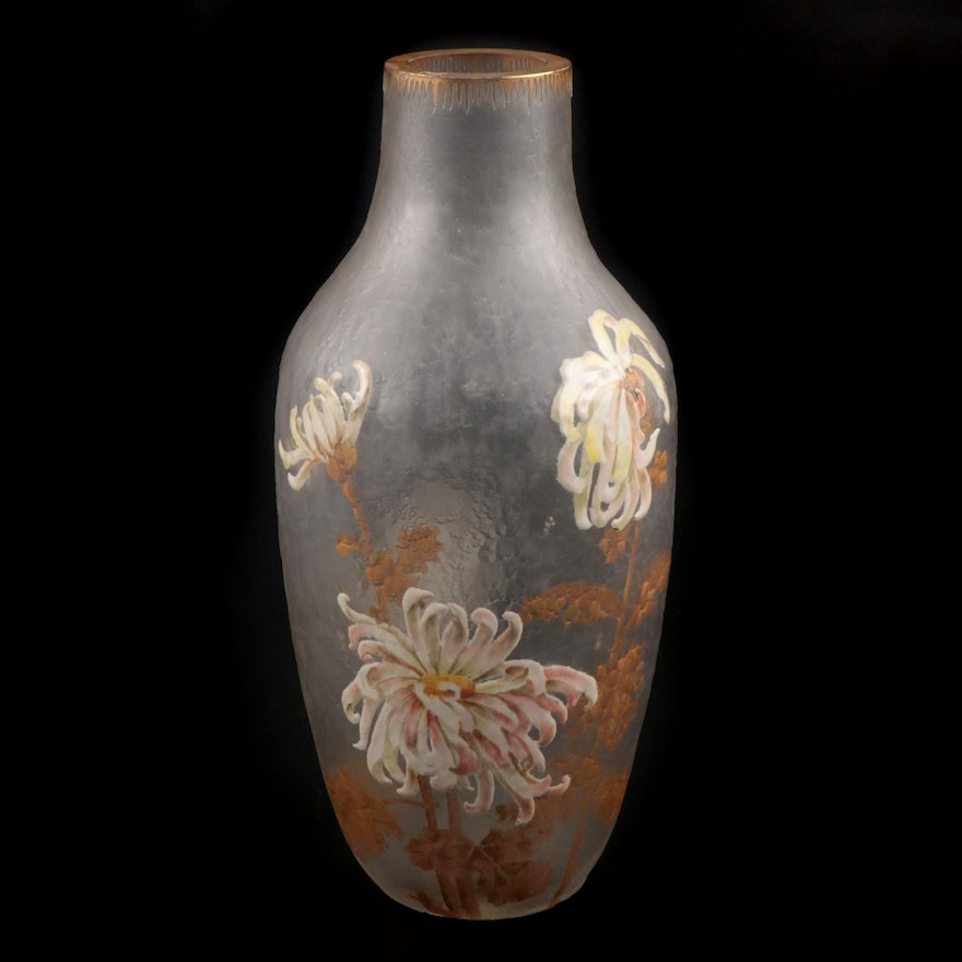 French Art Nouveau Enameled Frosted Glass Vase, Early 20th Century