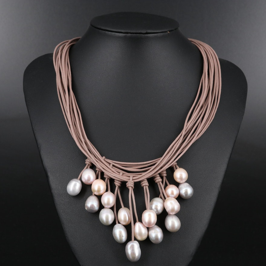 Pearl Drop Bib Necklace with Magnetic Clasp