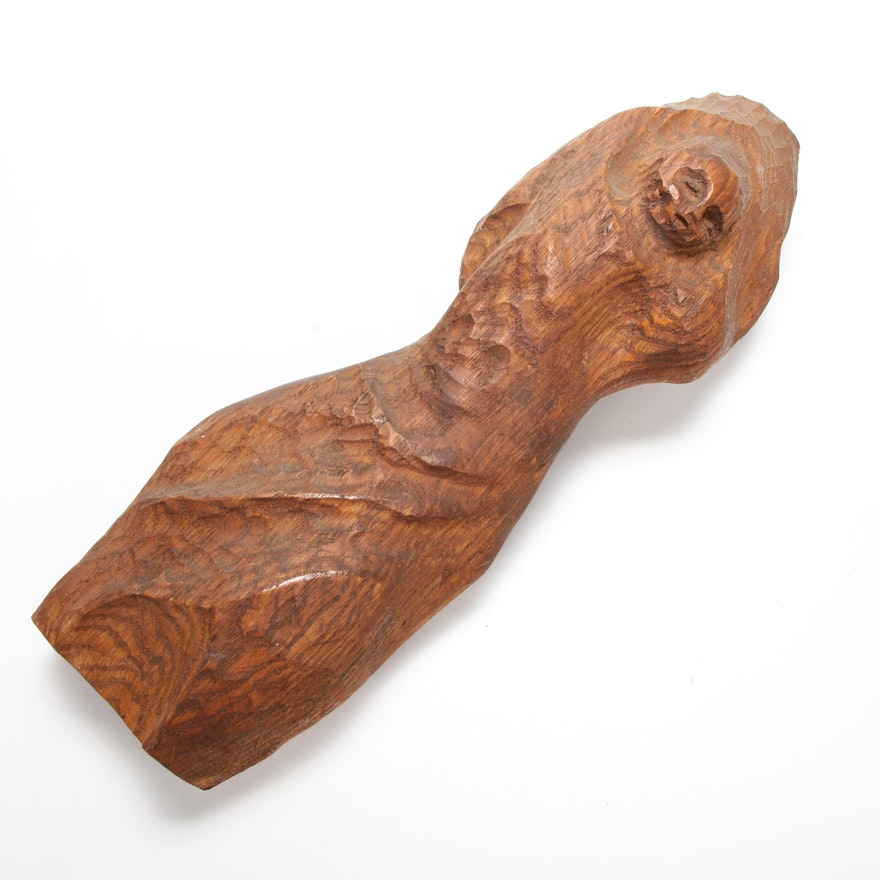 Louise Scott Wooden Sculpture, Mid-Late 20th Century