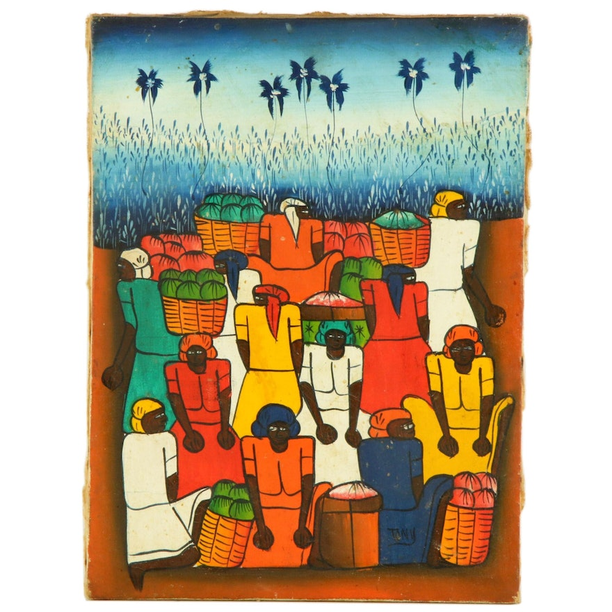 Haitian Folk Art Acrylic Painting of Figures with Baskets