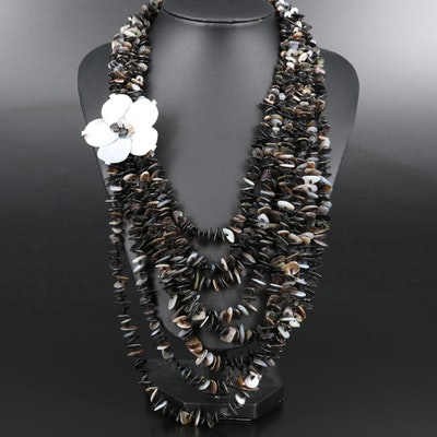 Mother of Pearl Flower Multi-Strand Necklace