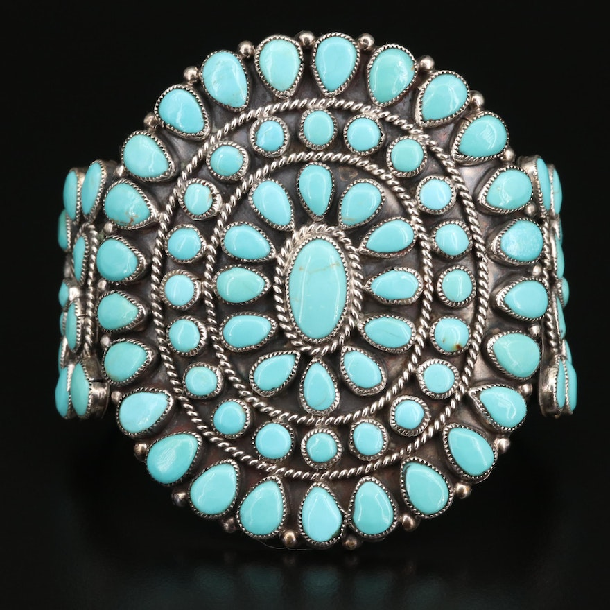 J.M. Begay Navajo Diné Sterling Turquoise Cuff