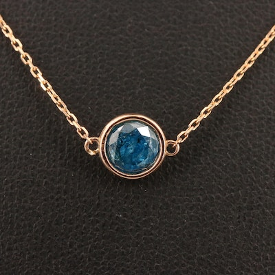 18K Rose Gold 0.80 CT Blue Diamond Solitaire Necklace