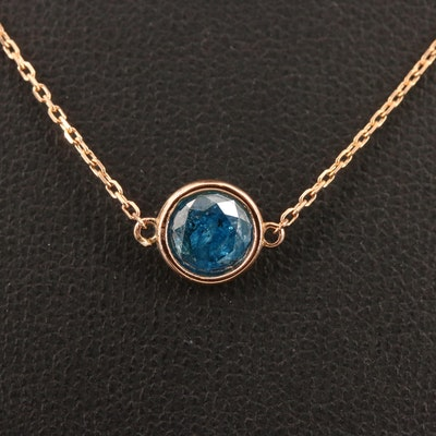 18K Rose Gold 0.80 CT Blue Diamond Solitaire Necklace