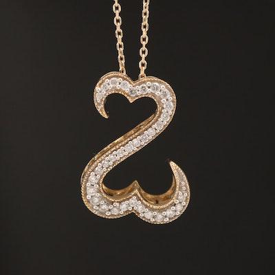 "Jane Seymour ""Open Hearts"" 14K Diamond Pendant Necklace"