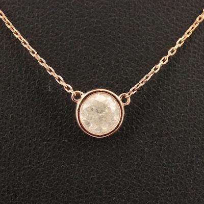 14K 0.98 CT Diamond Solitaire Necklace