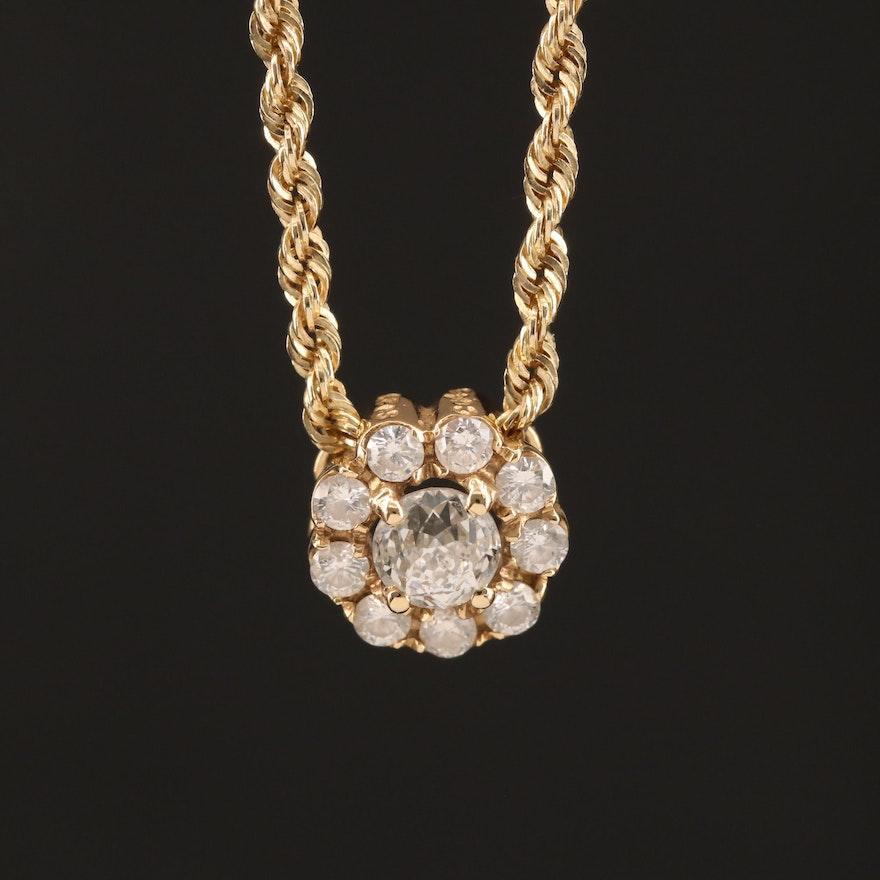 14K Circle of Light™ Diamond Halo Pendant Necklace