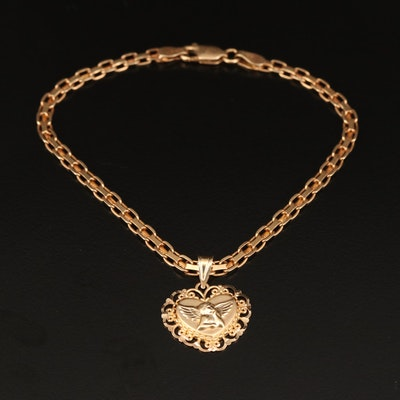 14K Chain Link Bracelet with Guardian Angel Heart Pendant