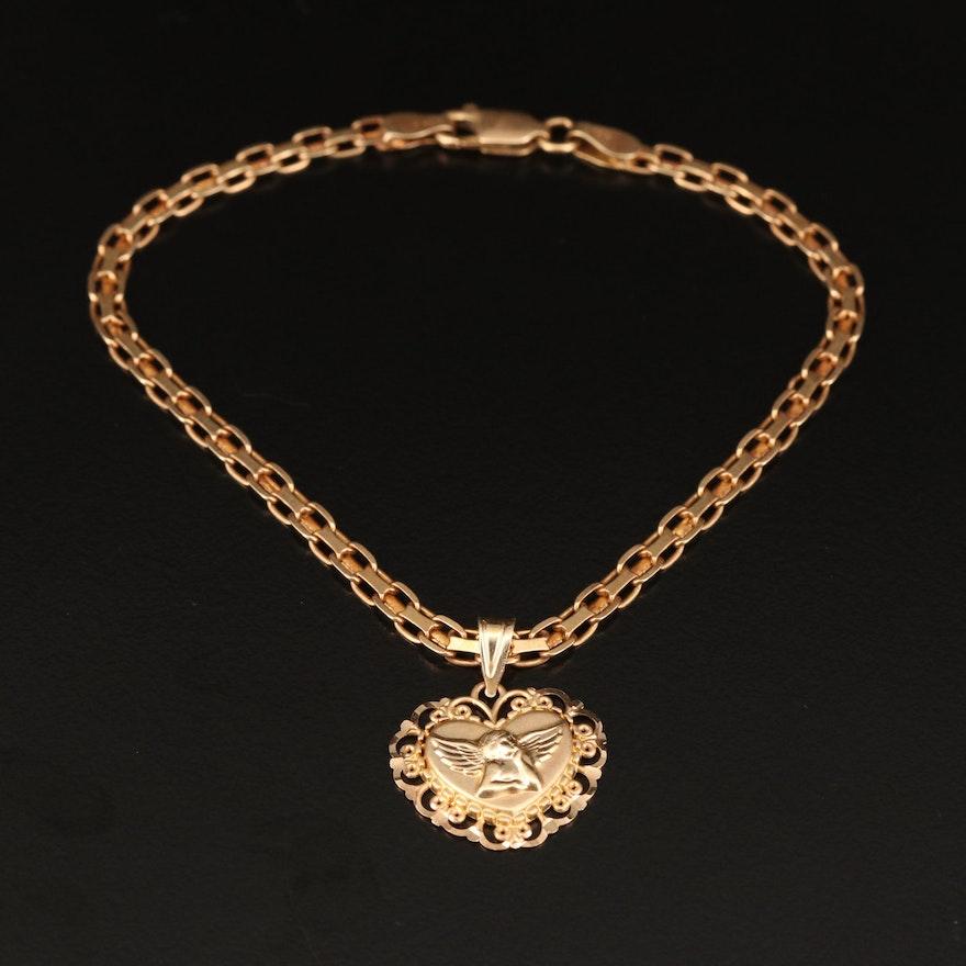 14K Chain Link Bracelet with Guardian Angel Heart Pendant