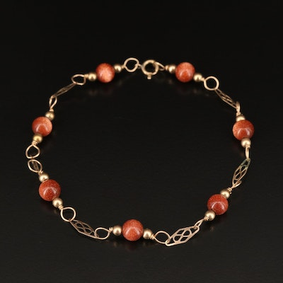 Goldstone Bead Bracelet with Openwork Links