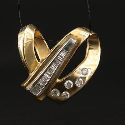 14K Dimensional Diamond Pendant