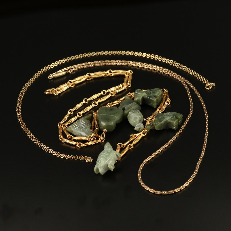 Assorted Necklaces with Nephrite Station Necklace and Sterling Chain