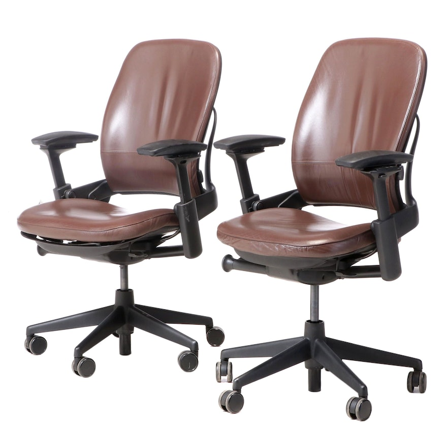 "Pair of Steelcase ""Leap"" Leather Upholstered Work Chairs"