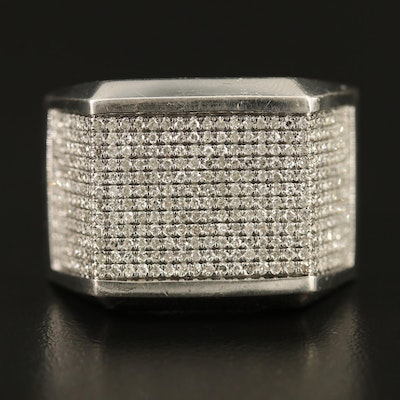 Sterling 1.20 CTW Pavé Diamond Geometric Ring