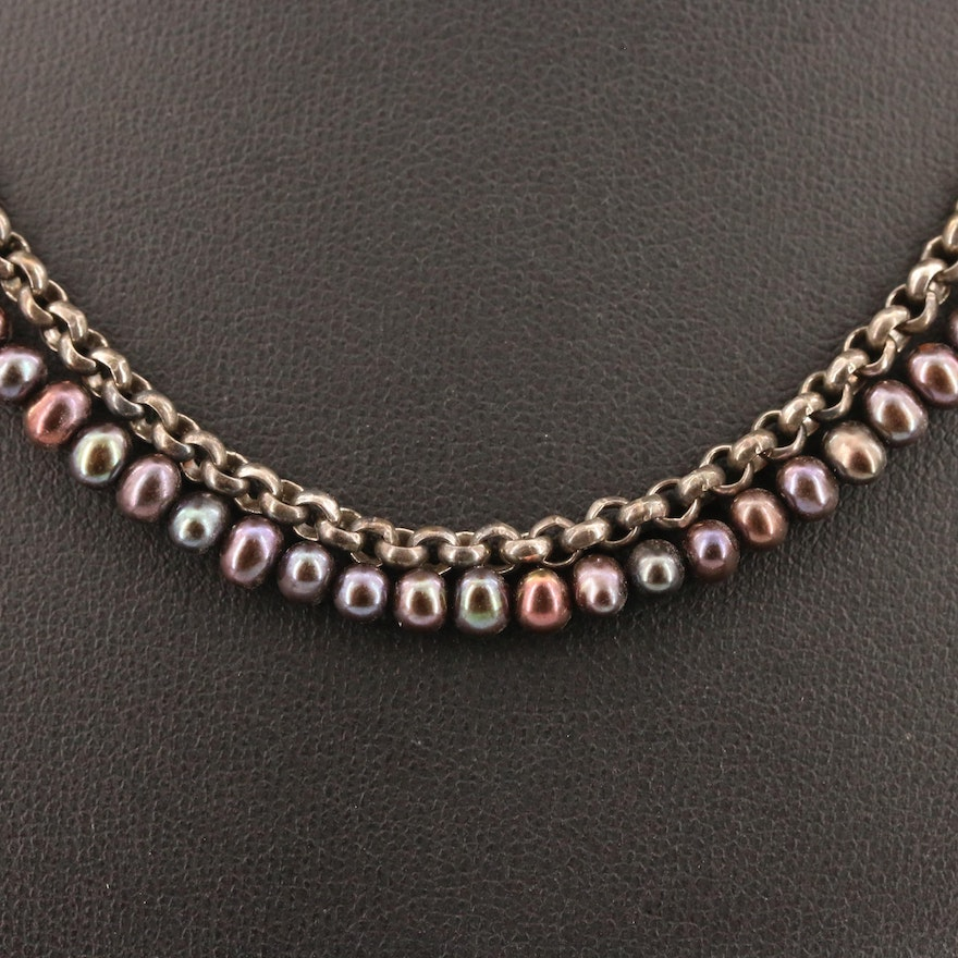 Sterling Silver and Pearl Double Strand Necklace