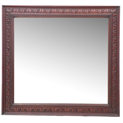 Large Neoclassical Style Carved Mahogany Wall Mirror, Late 19th Century