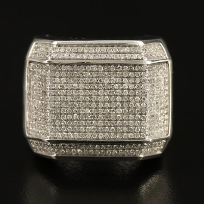Sterling Silver 1.28 CTW Diamond Geometric Ring