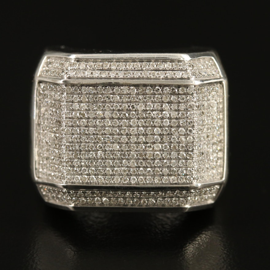 Sterling Silver 1.28 CTW Diamond Geometric Ring
