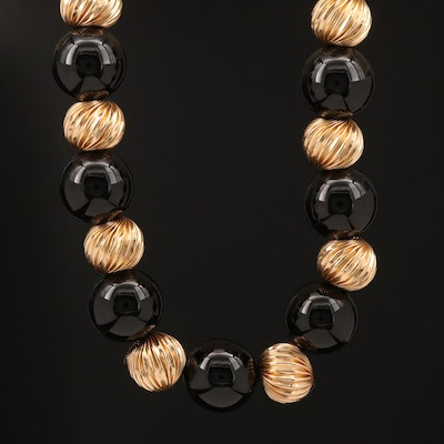 14K Black Onyx Bead Necklace