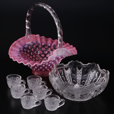 Fenton Hobnail Pink Ruffled Glass Basket with Miniature Cut Glass Punch Bowl Set