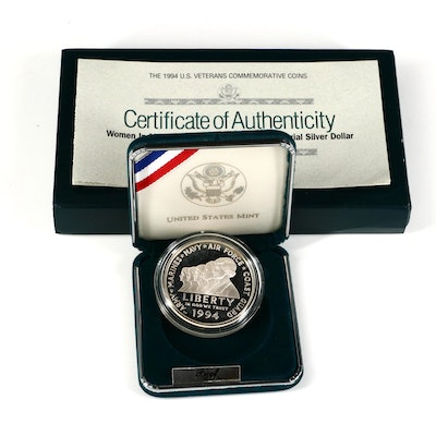 1994-P Women in Military Service Memorial Commemorative Proof Silver Dollar