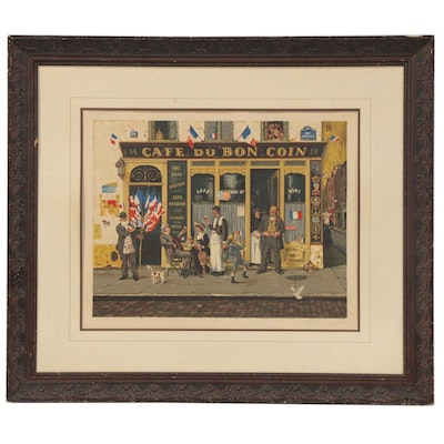 "Bruce Bomberger Color Lithograph ""Cafe du Bon Coin"""